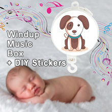 Windup Movement Music Box Baby Mobile Crib Rotating Bed Bell, Coming with DIY Stickers (Brackets or Toys not included)