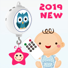 2019 New Design Remote Controlled Digital Baby Crib Mobile Music Box with 128M TF Card, Support Extended to 2 GB, Battery-Operated, Coming with DIY Stickers