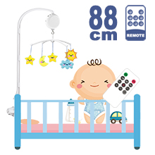 88CM High Baby Crib Bed Bell Toys Holder Arm Bracket, Nut Screw, W/ Digital Music Box (128M TF Card + Remote Controller)