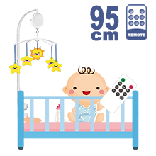 95CM High Baby Crib Bed Bell Toys Holder Arm Bracket, 3 Nut Screws, W/ Digital Music Box (128M TF Card + Remote Controller)