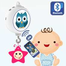 Bluetooth Digital Baby Crib Mobile Music Box with 128M TF Card, Support Extended to 2 GB, Battery-Operated, Coming with DIY Stickers