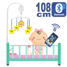 108CM High Baby Crib Bed Bell Toys Holder Arm Bracket, 2 Nut Screws, W/ Digital Music Box (128M TF Card + Bluetooth)