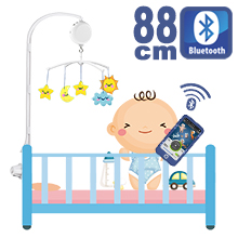 88CM High Baby Crib Bed Bell Toys Holder Arm Bracket, Nut Screw, W/ Digital Music Box (128M TF Card + Bluetooth)