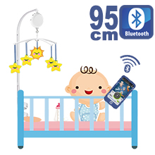 95CM High Baby Crib Bed Bell Toys Holder Arm Bracket, 3 Nut Screws, W/ Digital Music Box (128M TF Card + Bluetooth)