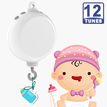 12 Tunes Electrical Baby Bedding Crib Mobile Music Box, Battery Operated (Brackets or Toys not included)