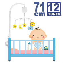 71CM High Baby Crib Bed Bell Toys Holder Arm Bracket, Nut Screw, W/ Electrical Music Box (12 Tunes)