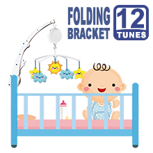 Folding Baby Crib Arm Bracket Clamp, W/ Electrical Music Box (12 Tunes)