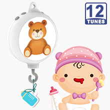 12 Tunes Electrical Baby Bedding Crib Mobile Music Box W/ DIY stickers, Battery Operated (Brackets or Toys not included)