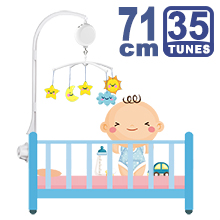 71CM High Baby Crib Bed Bell Toys Holder Arm Bracket, Nut Screw, W/ Electrical Music Box (35 Tunes)
