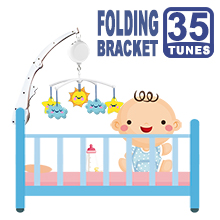 Folding Baby Crib Arm Bracket Clamp, W/ Electrical Music Box (35 Tunes)