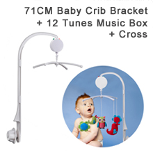 "71CM (28"") High Baby Crib Bed Bell Toys Holder Arm Bracket, Nut Screw, W/ Cross & 12 Tunes Electrical Music Box"
