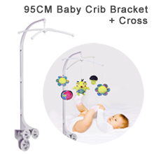 "95CM (37.40"") High Baby Crib Bed Bell Toys Holder Arm Bracket for all types of baby convertible cribs and playards, 3 Nut Screws, W/ Cross"