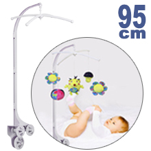 95CM High Baby Crib Bed Bell Toys Holder Arm Bracket, 3 Nut Screws
