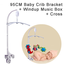 "95CM (37.40"") High Baby Crib Bed Bell Toys Holder Arm Bracket for all types of baby convertible cribs and playards, 3 Nut Screws, W/ Cross & Windup Music Box"