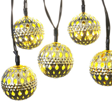 10 Moroccan Metal Ball Solar Powered String Lanterns LED Indoor or Outdoor Fairy Lights (Pure White/Warm White)