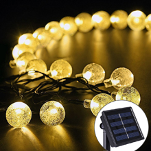 20 LED Crystal Ball Solar Powered String Indoor or Outdoor Lights (Blue/Pure White/Warm White/Multicolor)