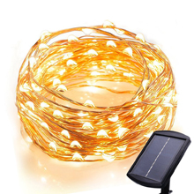 120 LEDs Outdoor Waterproof Large Size Solar Panel Powered Starry String Copper Wire Fairy Lighting Party Lights( Pure white/ Warm white/ Blue/ Purple/ Multicolor)